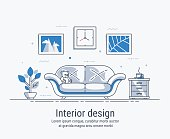 Interior design concept made in modern line style. Living room vector illustration. For web banner or landing page.