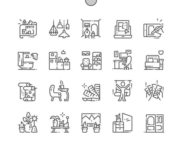 interior design gut gestaltete pixel perfect vector thin line icons 30 2x grid für webgrafiken und apps. einfaches minimal piktogramm - hausfarbpaletten stock-grafiken, -clipart, -cartoons und -symbole