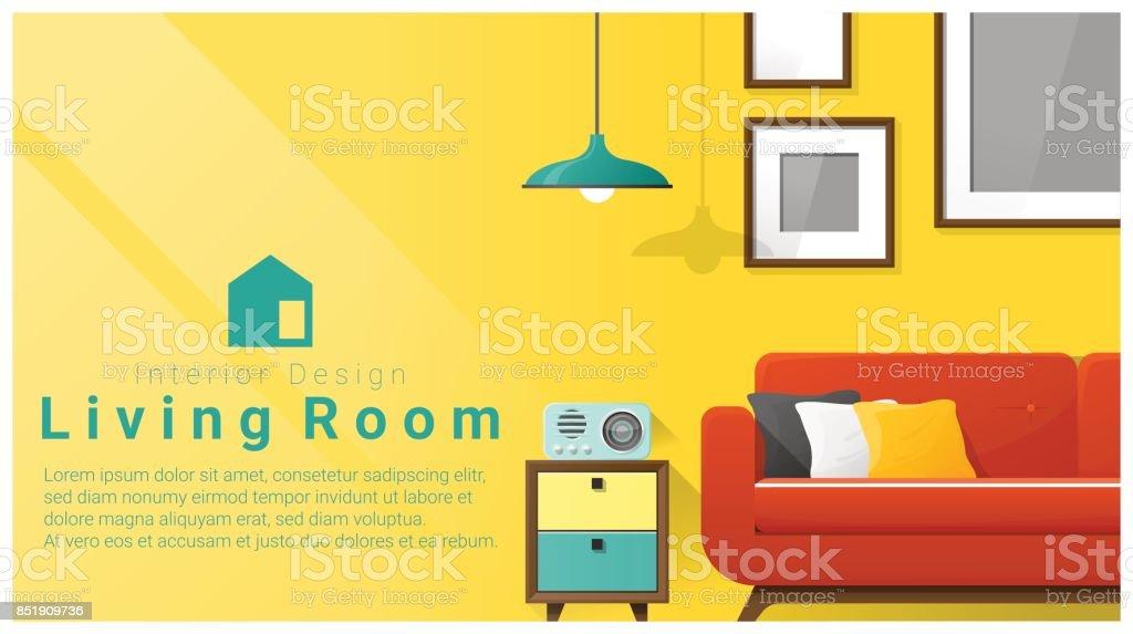 Interior Design Mit Modernen Wohnzimmer Hintergrund, Vektor, Abbildung  Lizenzfreies Interior Design Mit Modernen Wohnzimmer