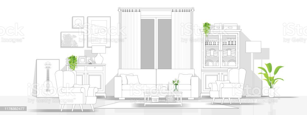 Interior design with modern living room in black line sketch on white background , vector , illustration Interior design with modern living room in black line sketch on white background , vector , illustration Apartment stock vector