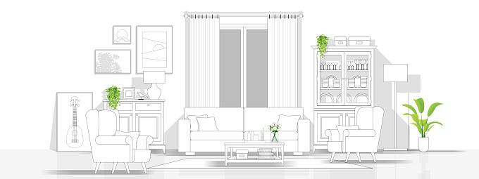 Interior Design With Modern Living Room In Black Line Sketch On White Background Vector Illustration Stock Illustration - Download Image Now