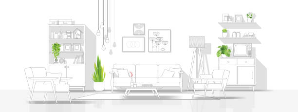 ilustrações de stock, clip art, desenhos animados e ícones de interior design with modern living room in black line sketch on white background , vector , illustration - sala