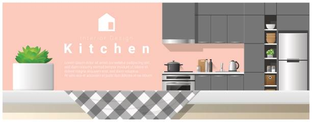 ilustrações de stock, clip art, desenhos animados e ícones de interior design with table top and modern kitchen background , vector , illustration - kitchen counter