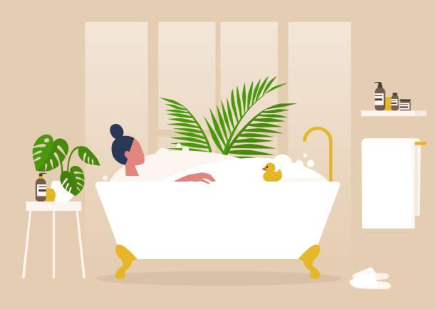 illustrazioni stock, clip art, cartoni animati e icone di tendenza di interior design, young female character washing in a clawfoot vintage bathtub full of soap foam, relaxation and body treatment - prendersi cura del corpo