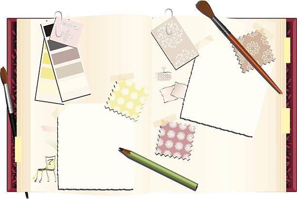 Interior Designer's Notebook ...An ideas book that an interior designer, or decorator might use with fabric, wallpaper and paint swatches and samples and space for your photos and copy. fabric swatch stock illustrations
