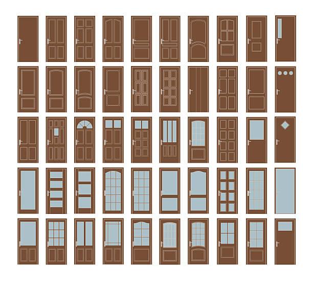 Interior Doors Collection 50 Vector Doors Set. Big Interior Doors Design Collection vehicle door stock illustrations