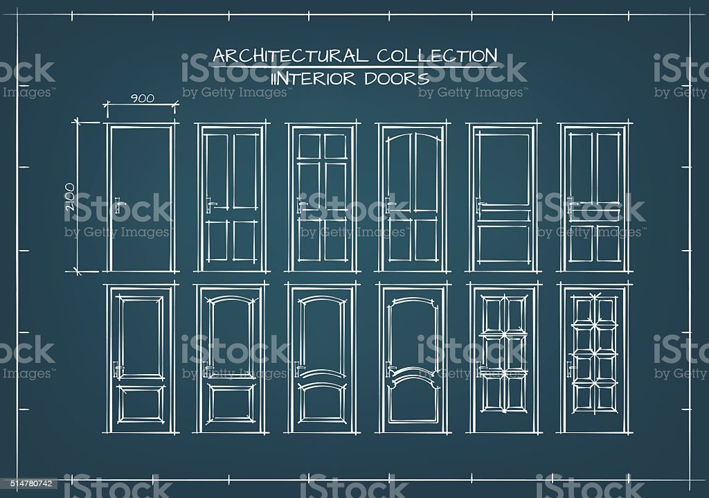 Interior Doors Set vector art illustration