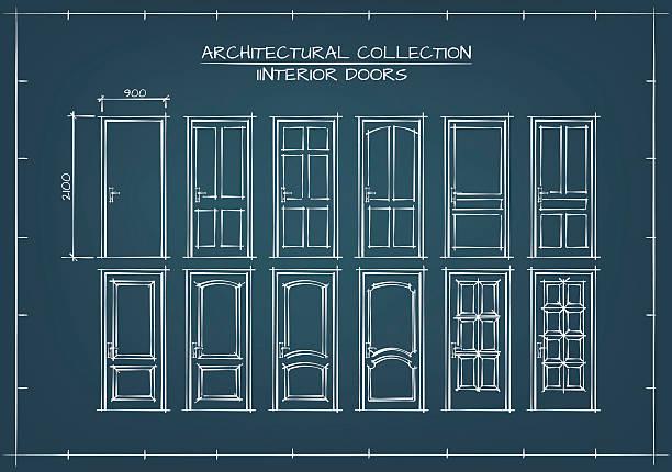 Interior Doors Set Interior Doors Set. Technical Drawing, Blueprint Style. vehicle door stock illustrations