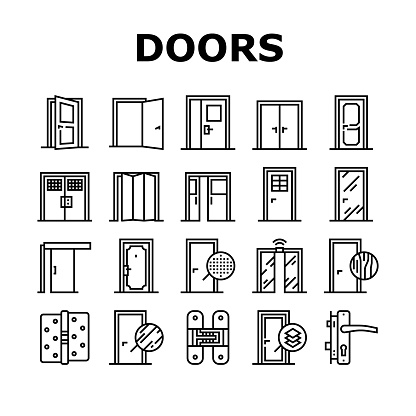 Interior Doors Types Collection Icons Set Vector. Swing, Sliding And Folding Doors, Veneer And Medium Density Fibreboard, Wooden And Metal Material Black Contour Illustrations