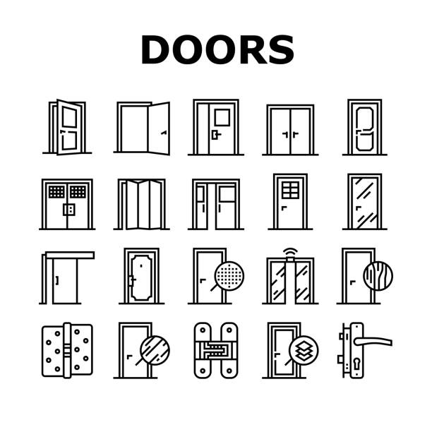 Interior Doors Types Collection Icons Set Vector Interior Doors Types Collection Icons Set Vector. Swing, Sliding And Folding Doors, Veneer And Medium Density Fibreboard, Wooden And Metal Material Black Contour Illustrations knob stock illustrations
