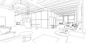 Outline sketch of a interior office space.