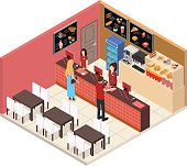 Interior Fast Food Restaurant or Cafe Bar Isometric View Menu Fastfood Inside Building People, Table and Chair. Vector illustration
