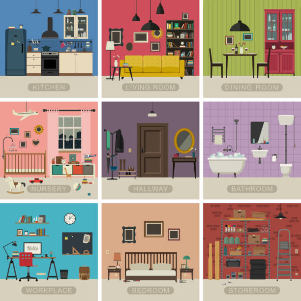 illustrazioni stock, clip art, cartoni animati e icone di tendenza di interior flat rooms - kitchen situations