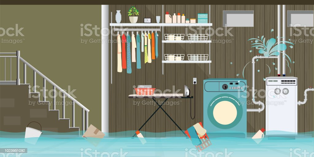 Interior flooded basement flooring of laundry room with leaky pipeline. vector art illustration