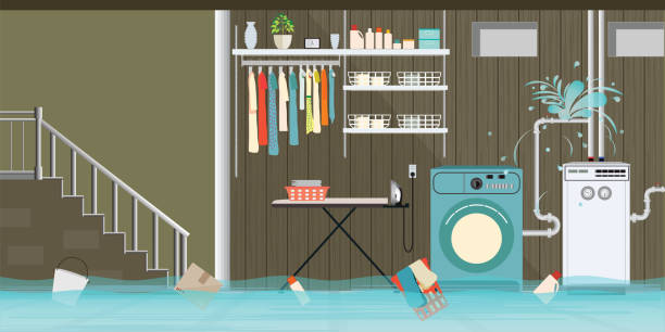 interior flooded basement flooring of laundry room with leaky pipeline. - basement stock illustrations