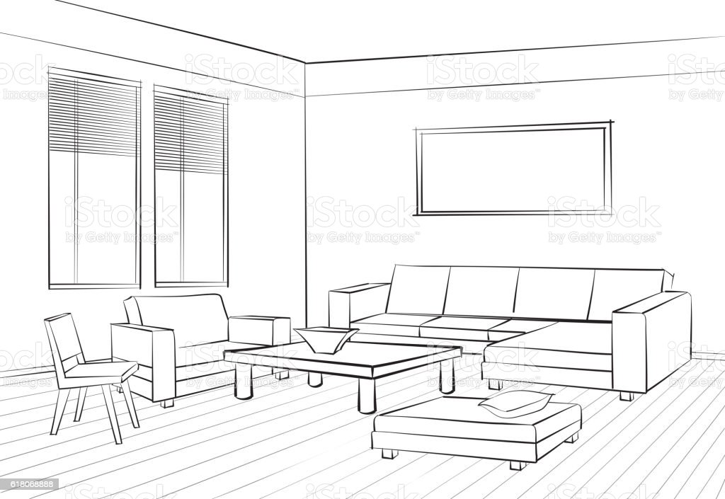 Interior Furniture Set Doodle Sketch Of Living Room Design