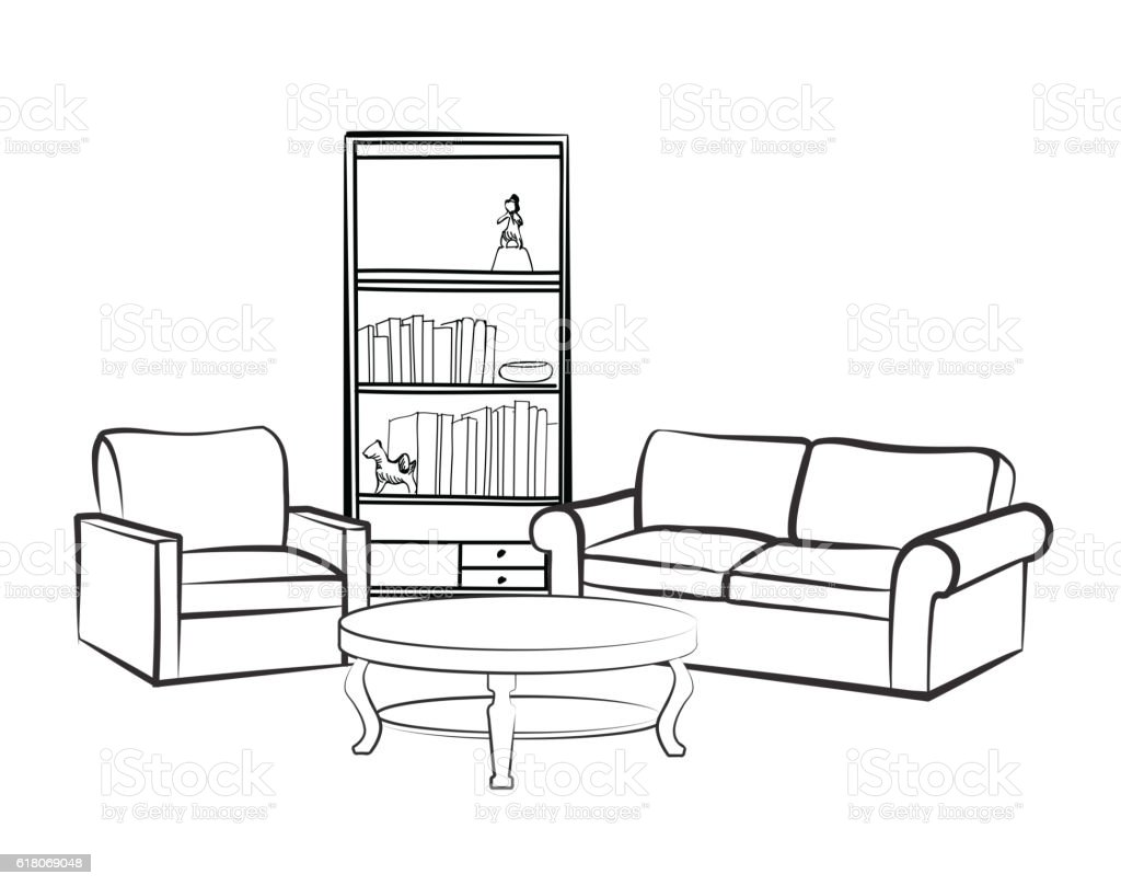 Interior furniture set doodle sketch of living room design for Interior house design clipart