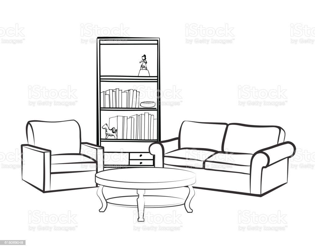 Interior furniture set. Doodle sketch of living room design. vector art illustration