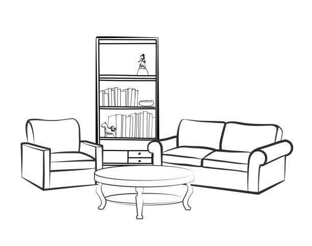 Interior Furniture Set Doodle Sketch Of Living Room Design Vector Art Illustration