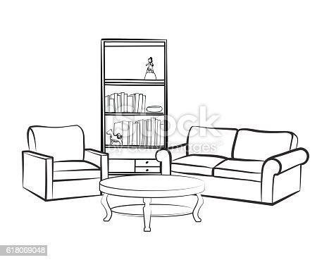 Interior Furniture Set Doodle Sketch Of Living Room Design