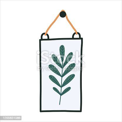 Interior herbarium: green leaf in glass frame. Modern interior wall pannel with herbs for livingroom. Hygge cozy concept. Vector flat illustration on white background.
