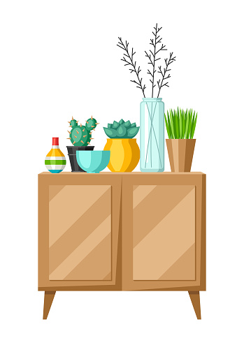 Interior home decor. Cupboard with vases and plants