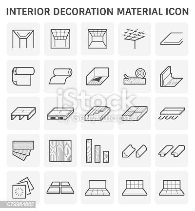 Interior decoration material icon for architecture work.
