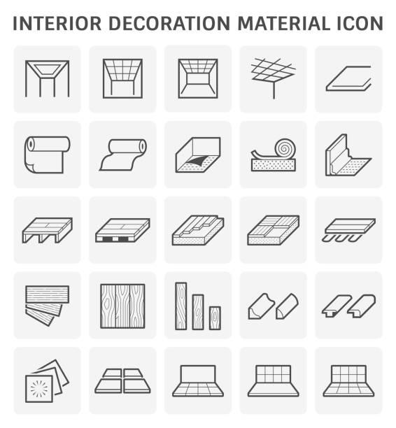illustrations, cliparts, dessins animés et icônes de design intérieur icône - sol caractéristiques d'une construction