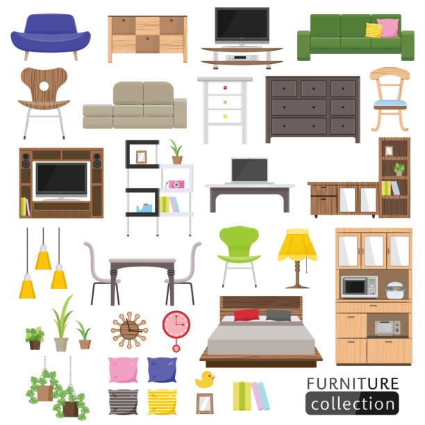 Interior icon. Interior icon. bed furniture stock illustrations