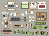 istock Interior icons top view, tree ,furniture, bed,sofa, armchair, for architectural or landscape design, for map.vector illustration 696817346