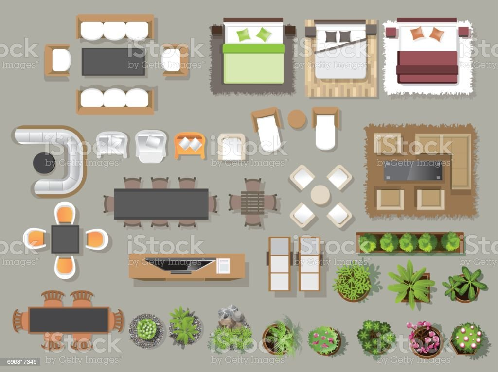 Interior icons top view, tree ,furniture, bed,sofa, armchair, for architectural or landscape design, for map.vector illustration vector art illustration