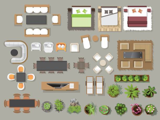 bildbanksillustrationer, clip art samt tecknat material och ikoner med interiör ikoner top view, träd, möbler, säng, soffa, fåtölj, för arkitektoniska eller landskap design för map.vector illustration - möbel