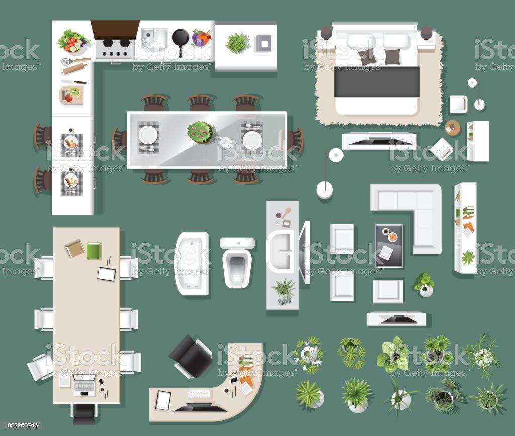 Los Iconos Interior Superior Vista árboles Muebles Cama Sofá Sillón ...