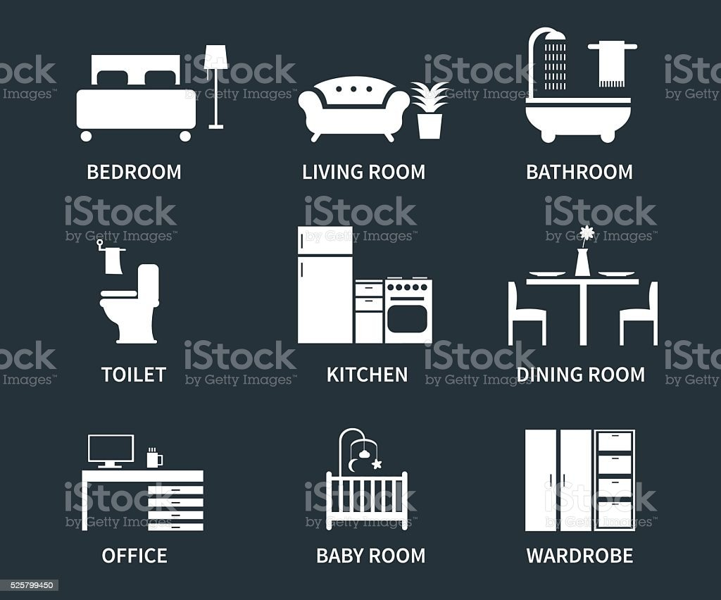Interior icons vector art illustration