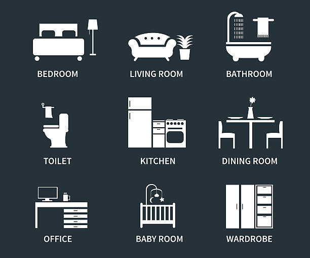 Interior icons Home interior design icons for bedroom, living room, bathroom, kitchen, dining room, home office, wardrobe, baby room. Vector icons set. bedroom silhouettes stock illustrations