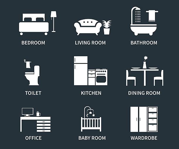 illustrazioni stock, clip art, cartoni animati e icone di tendenza di icone di interni - kitchen room