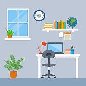 Workspace vector illustration. interior office workspace flat design concept
