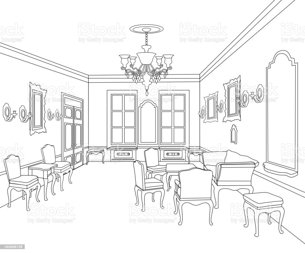 Interior in retro style furniture blueprint of drawing room stock furniture blueprint of drawing room royalty free interior in retro malvernweather Choice Image