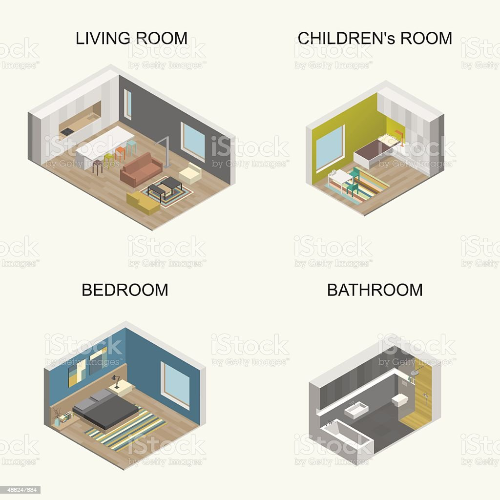 Interior isometric rooms vector art illustration