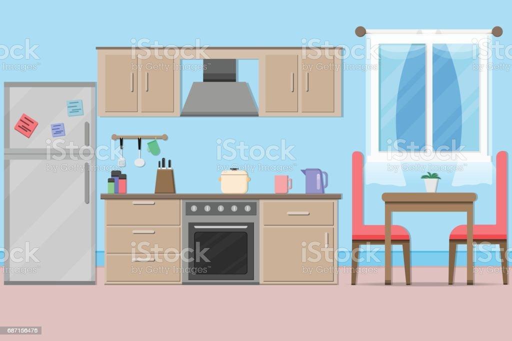 Kitchenwarevector 및 그림 인테리어 부엌 방 디자인 일러스트 687156476 ...