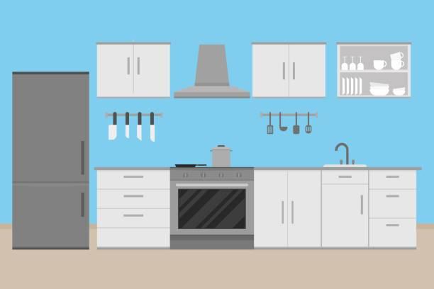 innenausbau küche raumgestaltung mit kitchenware.vector und illustration - küchensystem stock-grafiken, -clipart, -cartoons und -symbole