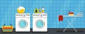 Interior laundry banner horizontal. Flat illustration of vector interior laundry banner horizontal for web design
