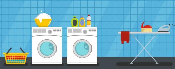 Interior laundry banner horizontal, flat style Interior laundry banner horizontal. Flat illustration of vector interior laundry banner horizontal for web design laundry basket stock illustrations