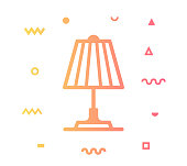 Interior lighting outline style icon design with decorations and gradient color. Line vector icon illustration for modern infographics, mobile designs and web banners.