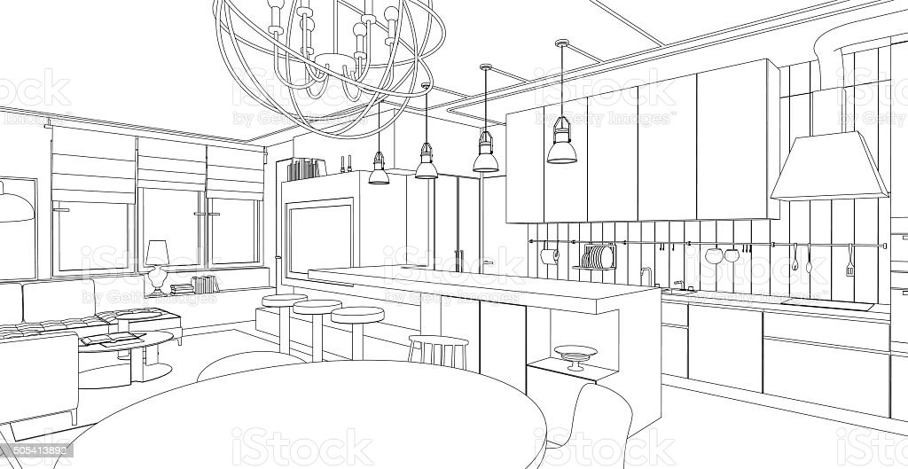 Interior line drawing. vector art illustration