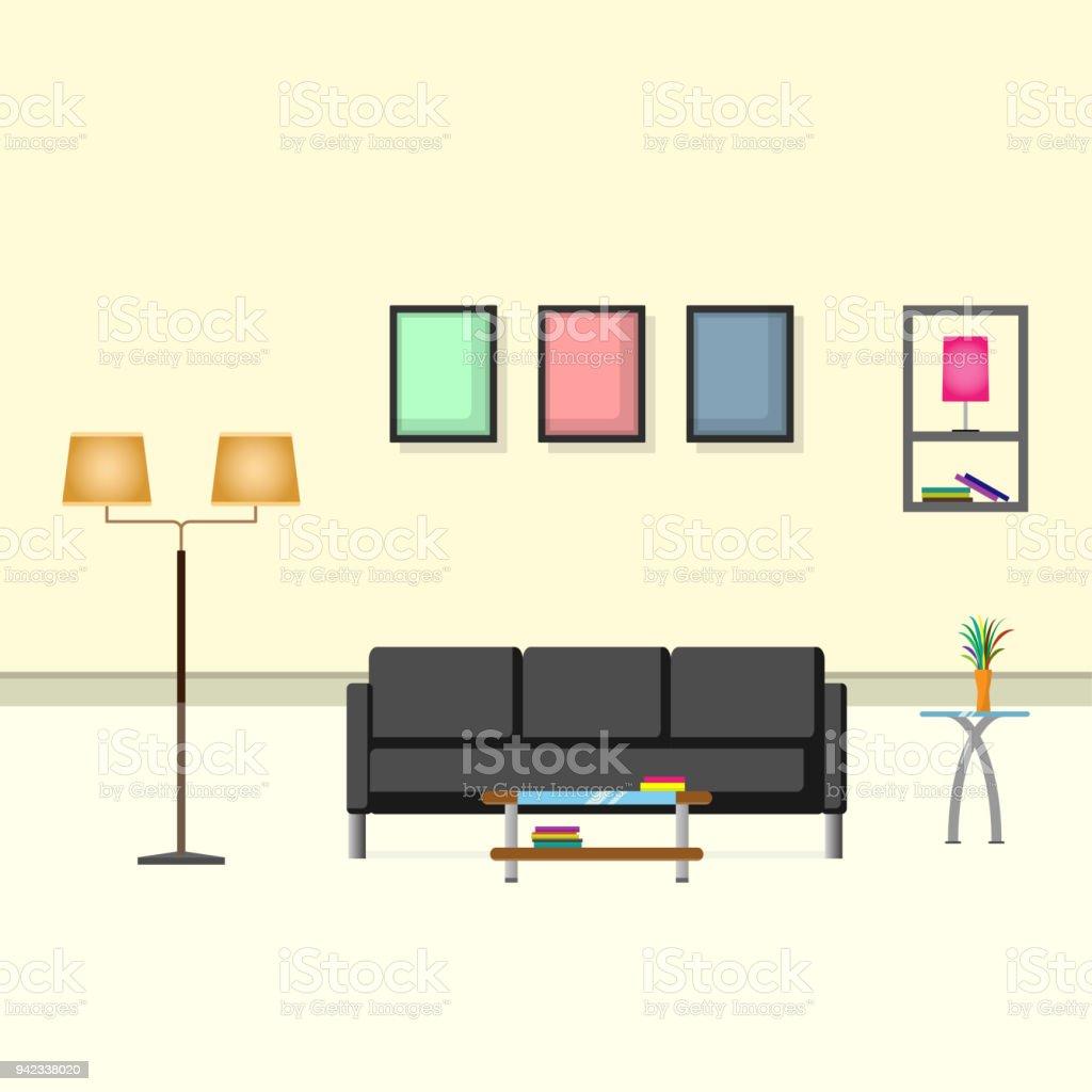 Innenraum Wohnzimmer Design Creme Farbe Dekorationsartikel Sofa