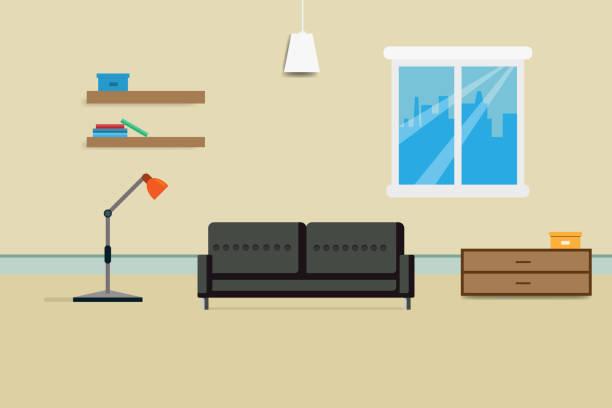 innenraum wohndesign mit sofa bücherregal und fenster zu entspannen. vektor-illustration - halbwände stock-grafiken, -clipart, -cartoons und -symbole