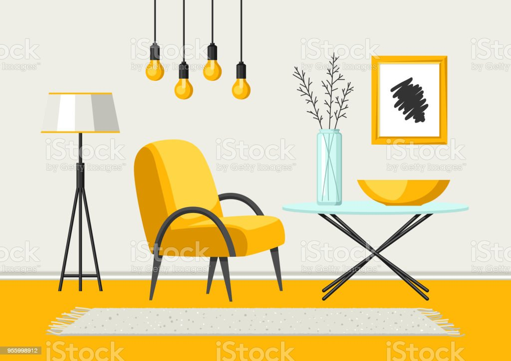 Interior Living Room Furniture And Home Decor Stock