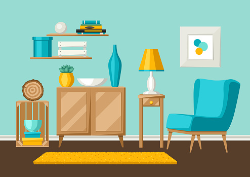 Interior living room. Furniture and home decor