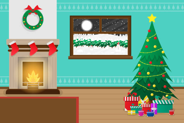 Christmas Living Room Scene Cartoon | Baci Living Room